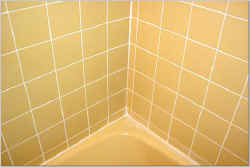Bathtub -after re-grouting and caulking. Bathtub looks new!